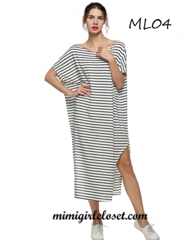 Loose Round Neck Bat-wing Sleeve Striped Irregular Maxi/ Long Dress