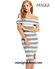 Casual Sleeveless Striped Off Shoulder Slim Sexy Dress