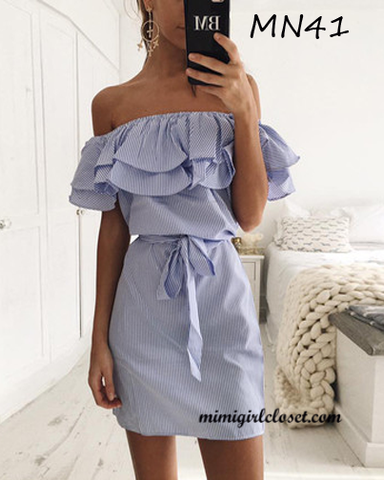 Off Shoulder Ruffle Stripes Mini Dress