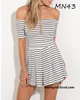 New Off Shoulder Striped Pleated Dress