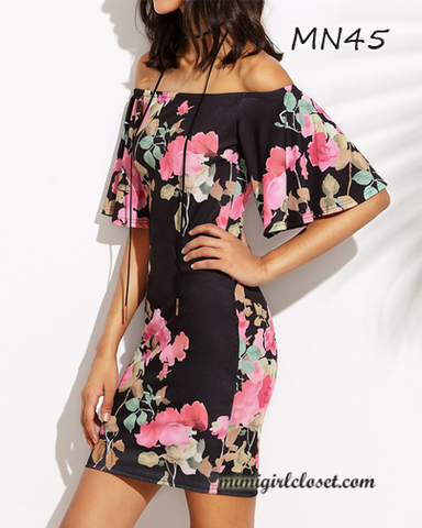 Floral Print Boat Neck Mini Dress