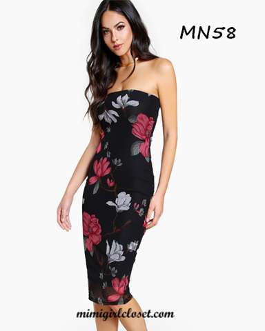 Flower Print Bandeau MIni Dress