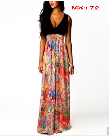 V-Neck Sleeveless High Waist Floral Maxi Long Dress