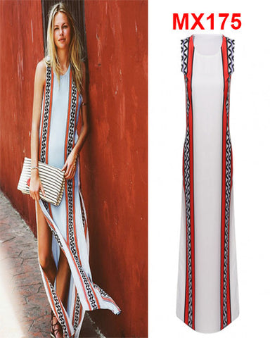 Symmetrical Print O-neck Sleeveless High Slit Maxi Long Dress