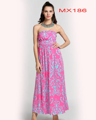 Strapless Empire Waist Print  Maxi Long Dress