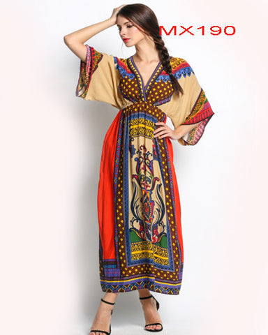 Ethnic Style Fashion Women Deep V-Neck 3/4 Sleeve Print  Maxi Long Dress