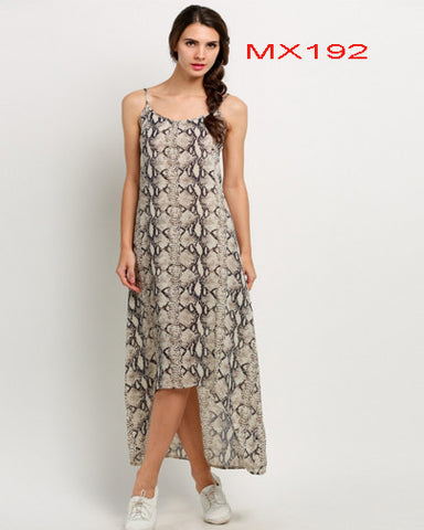 Women Strap Print Irregular Maxi Long Dress
