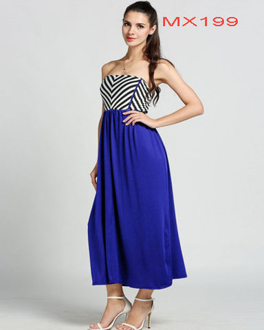 Strapless Stripe High Waist Splice Stretch Maxi Long Dress