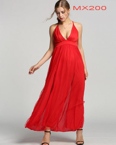V-Neck Cross Strap Backless Mesh Maxi Long Dress