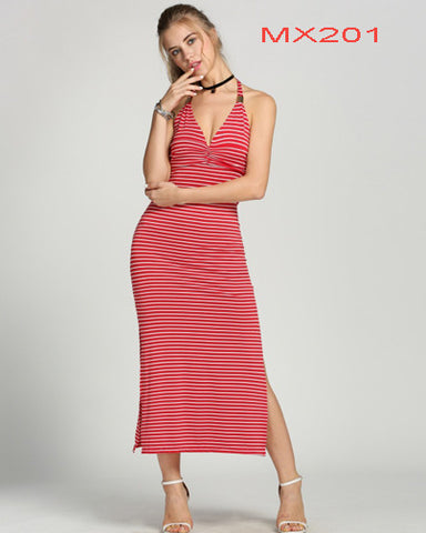 Halter V-Neck Backless Empire Waist Striped Maxi Long Dress