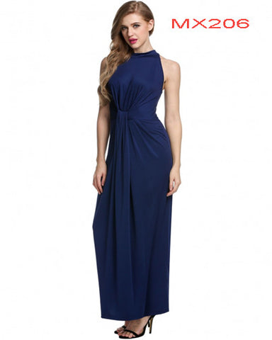 Sleeveless Twist Knot Front Slim Fit Maxi Long Dress