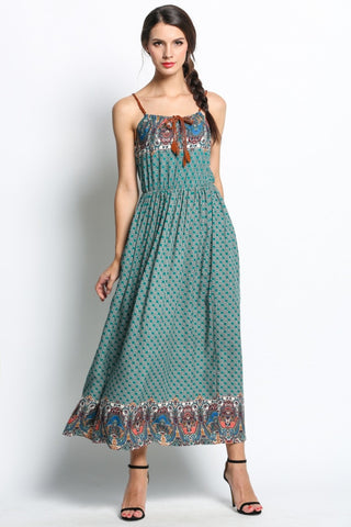 Bohemian Style Strap Sleeveless Print Beach Maxi Long Dress