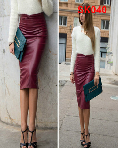 Synthetic Leather Skirt Stretchy Bodycon Midi Pencil Skirt