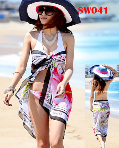 Chiffon Printed Beach Scarf Cover-up Sarong Bikini Wraps Shawl