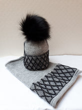 Load image into Gallery viewer, Pom Pom Hat & Snood Set with Band
