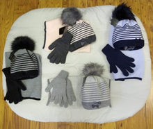 Load image into Gallery viewer, 3 pce Pom Pom Hat, Snood & Gloves Set