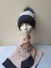 Load image into Gallery viewer, Pom Pom Hat & Scarf Set with Band