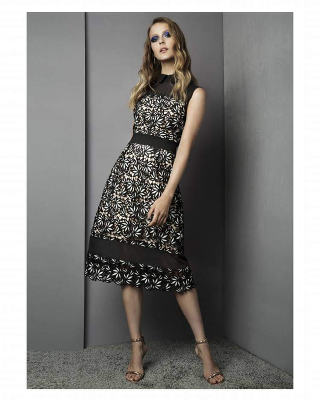 Fee G Floral Lace Effect Dress