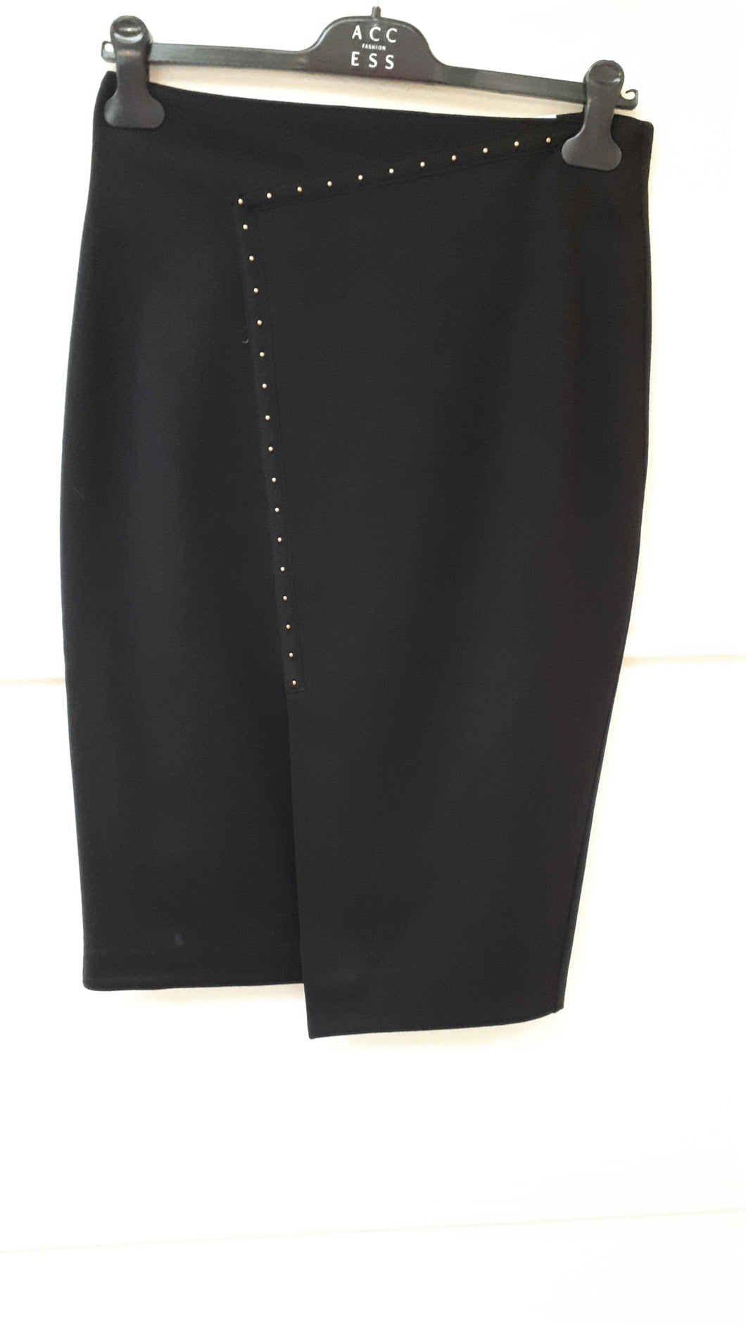 Black Pencil Skirt with Stud Detail