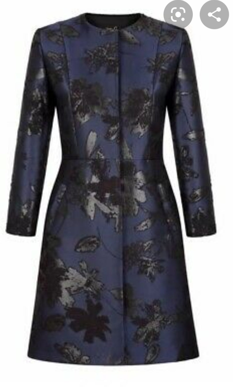 Fee G Navy & Black Print Coat