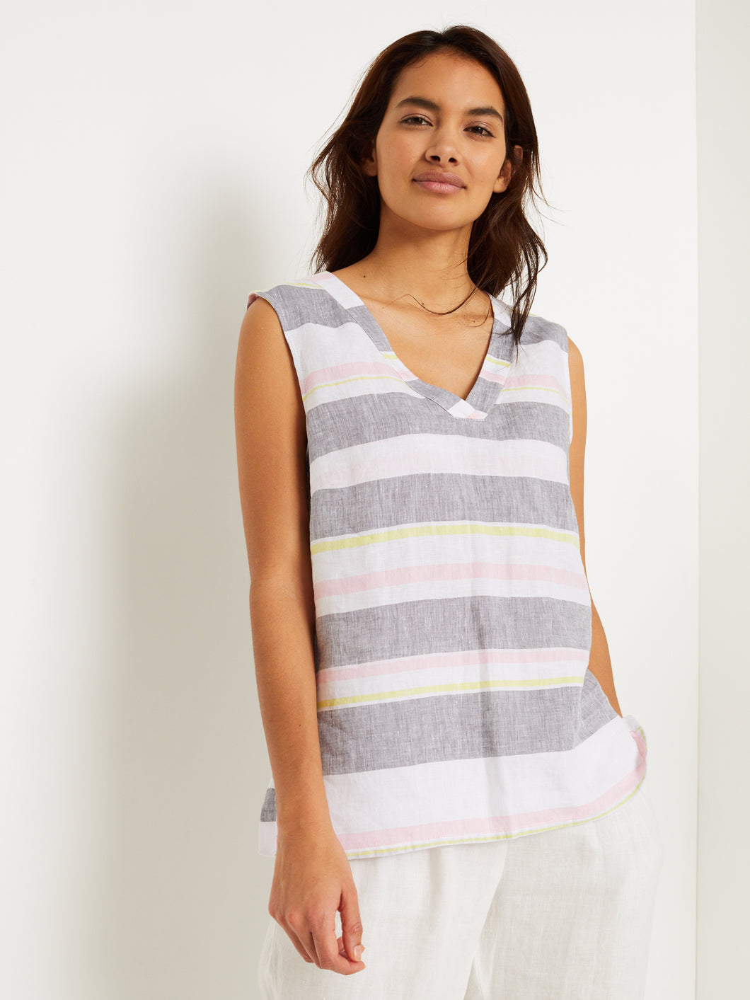 Island Strip Linen Top