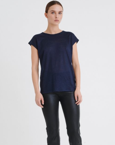 Faylinn O Neck- Navy Blue T Shirt