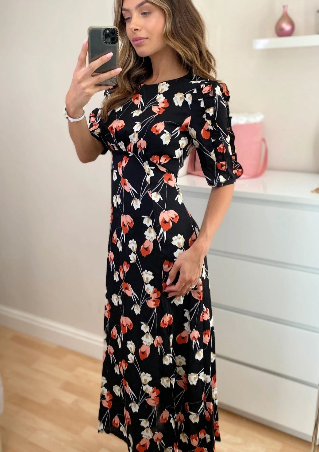 Valeria Ruffle Sleeve Midi Dress