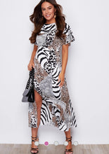 Load image into Gallery viewer, Britney Angel Sleeve Split Leg Midi Dress- White Animal Print