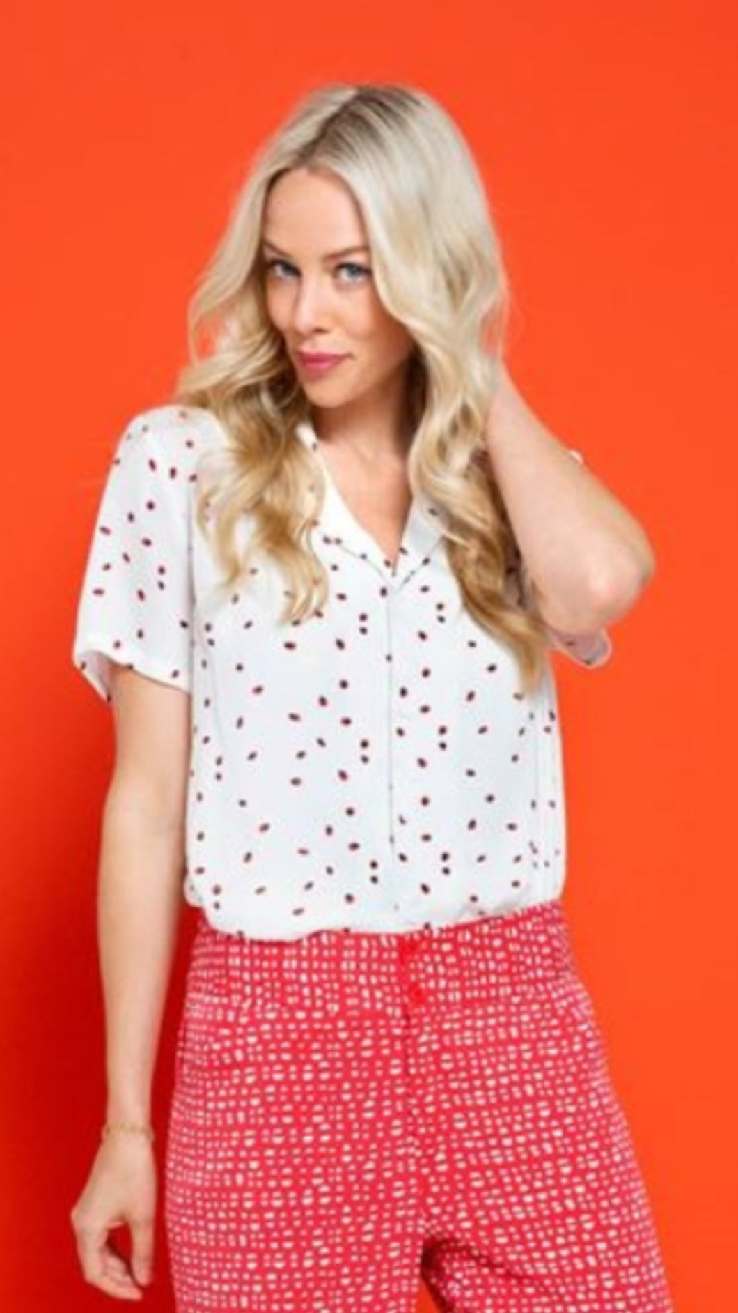 Zilch Ladybird Top - Cream/ Red