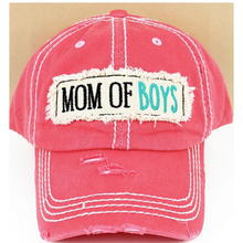 Load image into Gallery viewer,  Isn't this mom of boy's hat so adorable! This cap is the perfect year-round fashion accessory! Perfect gift for Mom! this is a salmon color Distressed 100 percent cotton cap. A cute raised fabric applique patch with mom of boys embroidered on the back, adjustable for the perfect fit!