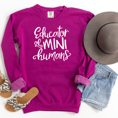 Do you need an idea for a gift for a teacher in your life? Or maybe it's you that would love having this sweatshirt! Take a look at this Educator of Mini Humans sweatshirt, shown in an adorable Boysenberry color!