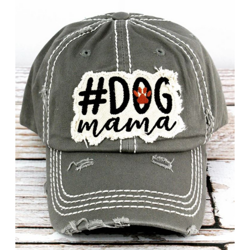 Isn't this dog mama hat so adorable! This cap is the perfect year-round fashion accessory! Great for dog mama's! This is a steel gray color Distressed 100 percent cotton cap. A cute raised fabric applique patch with a embroidered paw print on the back, adjustable for the perfect fit!