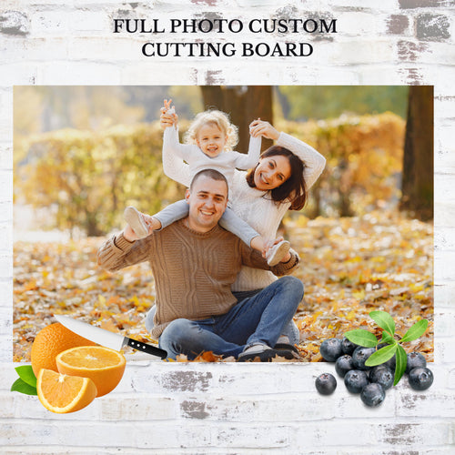 You'll have a smile on your face every time you're in your kitchen with this special cutting board displayed on the countertop. The tempered glass slab is the perfect place to show off a full-size photo of your choice! Send a photo of your favorite memory that you can enjoy year-round! Horizontal pictures look the best since this is a rectangle :)