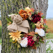 Load image into Gallery viewer,  This premium. beautiful rustic grapevine wreath with a burlap bow for the front door or porch is luscious and full of fall peonies, berries, fall greenery, wispy greenery, twigs, and flowers in fall colors dark red, burgundy, rust, and beautiful golden flowers. Looks beautiful on your front door, over the mantle, or on your wall. It makes a great gift!