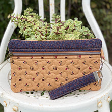 "Load image into Gallery viewer, Our all-purpose zipper clutch ""Ellie"" is a fun and stylish pouch that can be used for many purposes. Such as a coin purse, fabric pencil case, cosmetic bag, or a zippered toiletry bag. It measures approximately 9.5"" X 5.75"" and is made out of beautiful 100% cotton. Ellie is machine washable"