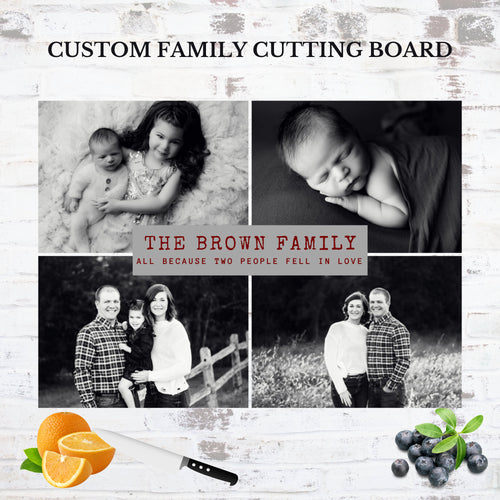 Custom glass cutting board. Personalize with your own photos. You'll have a smile on your face every time you're in your kitchen with this special cutting board displayed on the countertop. The tempered glass slab is decorated with a beautiful template design that you can add 4 photos to!