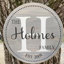 Load image into Gallery viewer, Beautiful hand-painted custom family established  sign to showcase in your home. These signs also make the perfect gift for weddings, showers, anniversaries, housewarming, and Christmas.