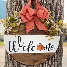 Load image into Gallery viewer, Oh so cute Pumpkin Welcome Wood Sign! Perfect for your front door to welcome your guest! What a cute way to decorate for fall. This sign is the perfect size for your Front Door, Mantel, gallery wall, leaned on a shelf, entryway...or anywhere throughout your home!! This would make a great housewarming gift, anniversary, Christmas, and birthday gift!