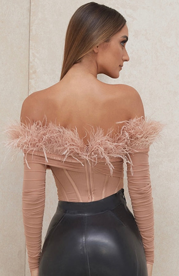 Feather Off The Shoulder Bodysuit