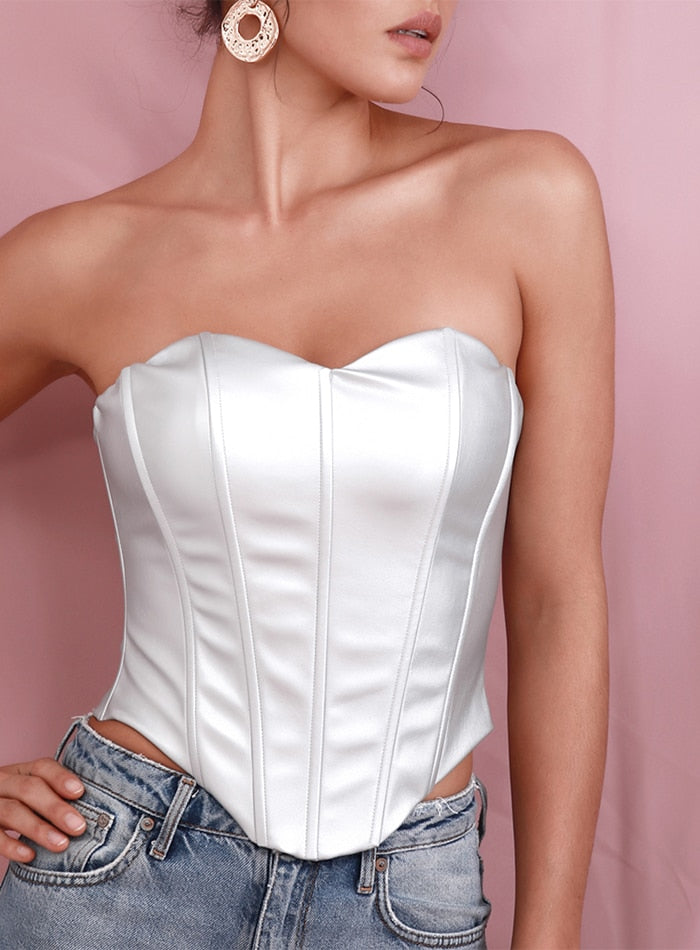 Silver Faux Leather Cami