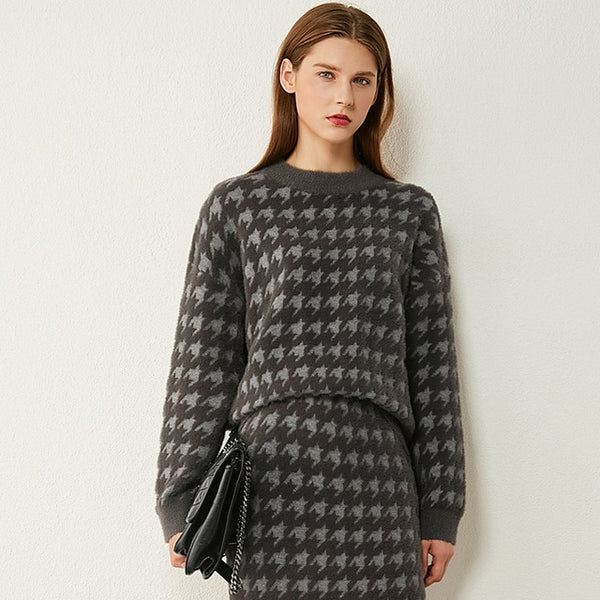 Houndstooth Sweater Skirt Set