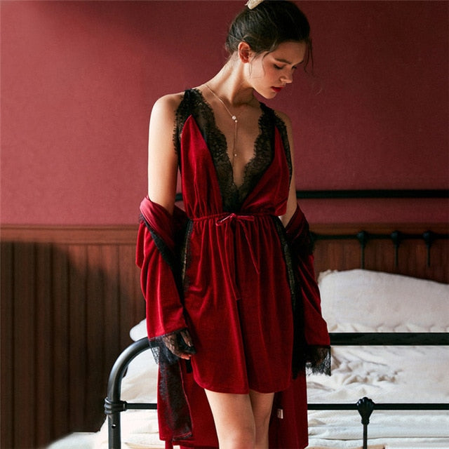 Velvet Robe Gown Set
