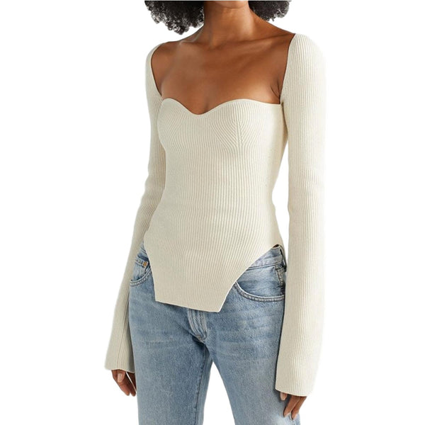 Square Neck Long Sleeve Off The Shoulder Knitted Sweater