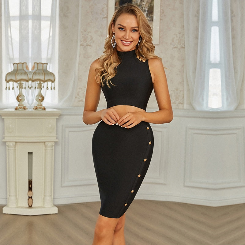 Sleeveless Pearl Skirt Set