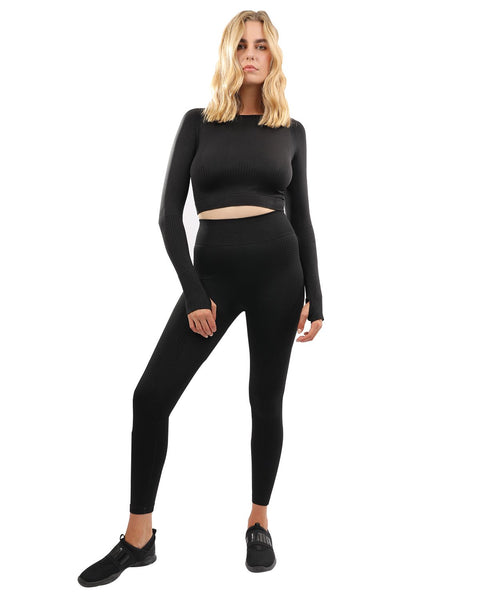 Fratessa Seamless Leggings & Sports Top Set - Black