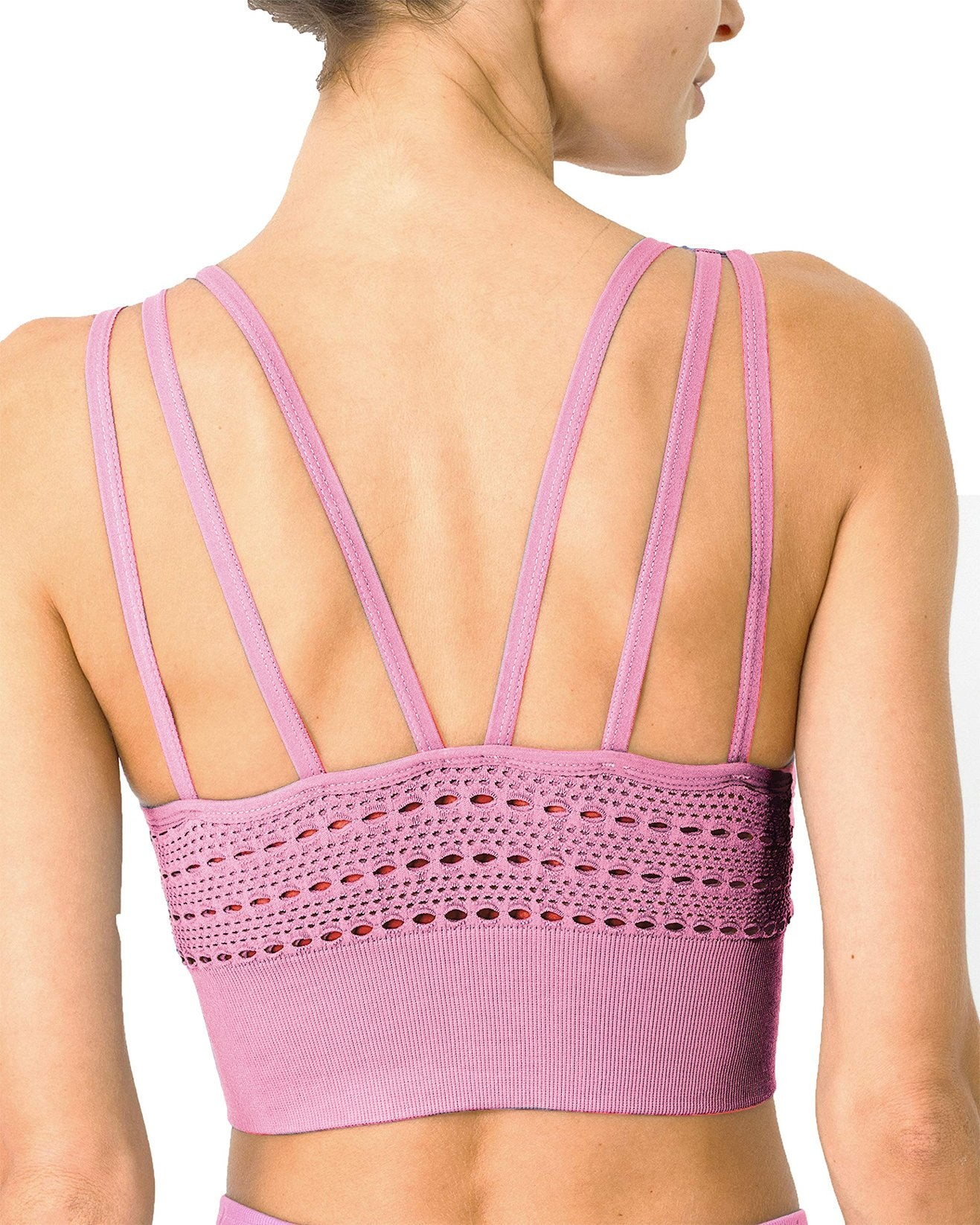 Mesh Seamless Bra with Cutouts - Pink