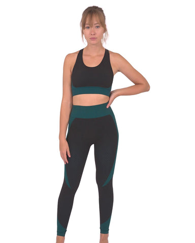 Trois Seamless Leggings & Sports Top 2 Set - Black with Blue