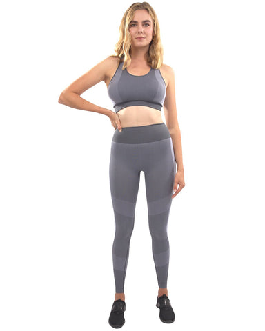 Arleta Seamless Leggings & Sports Bra Set - Grey