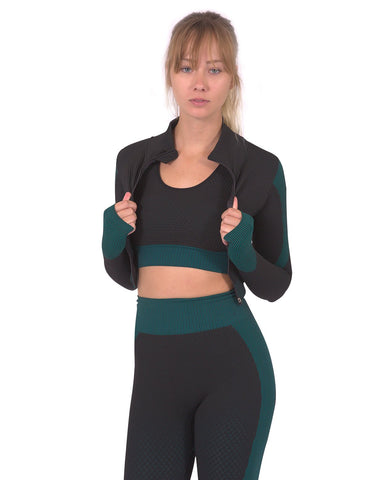 Trois Seamless Sports Jacket - Black with Blue