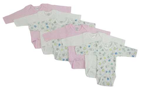 Girls' Long Sleeve Printed Onesie Variety 6 Pack
